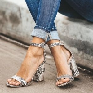 Faux Python Strappy Heel Sandals